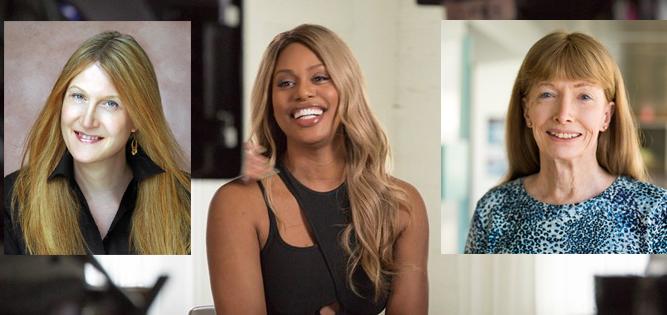 Transgender women Jenny Boylan, Laverne Cox, and Lynn Conway